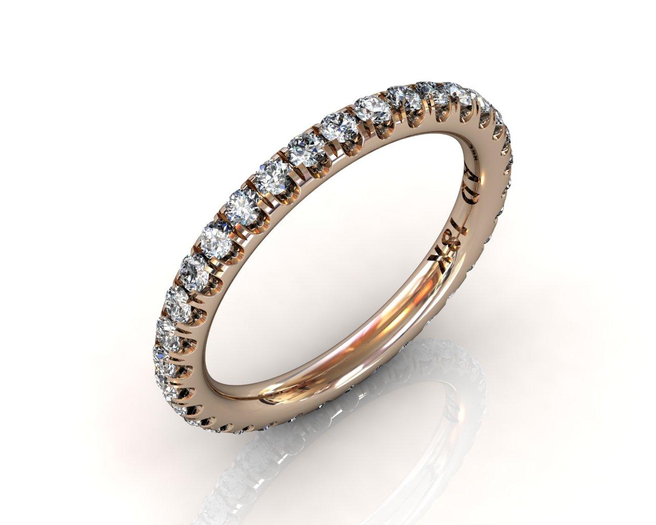 Wedding Bands Ladies Diamonds Craponia 24 Stone 0.74 TCW 3.0g 18kt Rose Gold