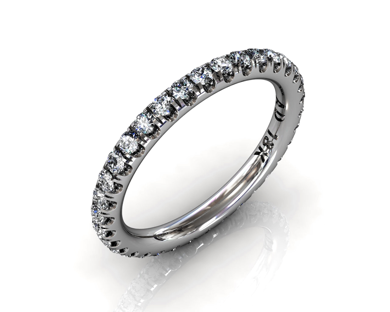 Wedding Bands Ladies Diamonds Craponia 24 Stone 0.74 TCW 3.0g 18kt White Gold