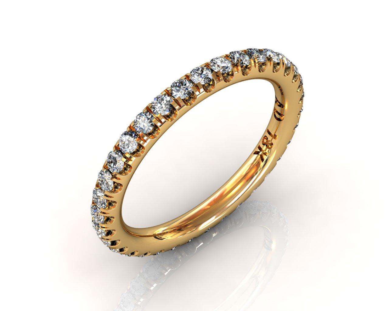 Wedding Bands Ladies Diamonds Craponia 24 Stone 0.74 TCW 3.0g 18kt Yellow Gold