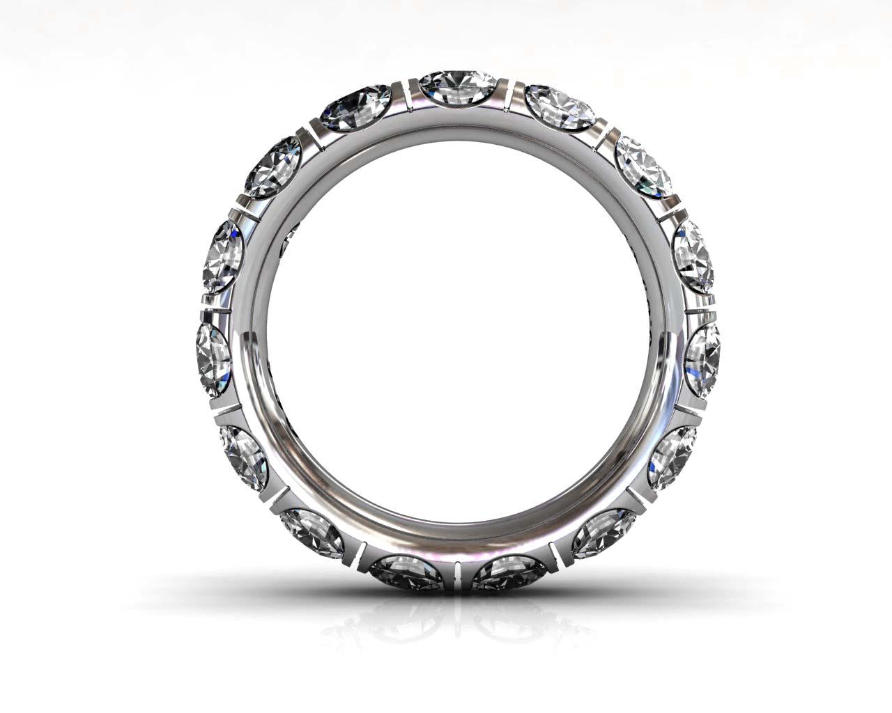 Wedding Bands Ladies Diamonds Craponia Setting 15 Stone 3.85 TCW Diamonds 4.60g 18kt White Gold