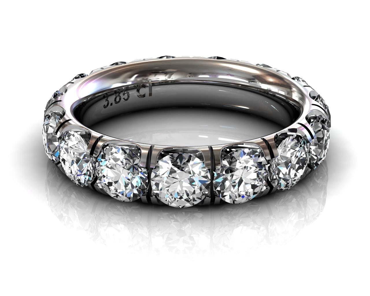 Wedding Bands Ladies Diamonds Craponia Setting 15 Stone 3.85 TCW Diamonds 4.60g 18kt Rose Gold