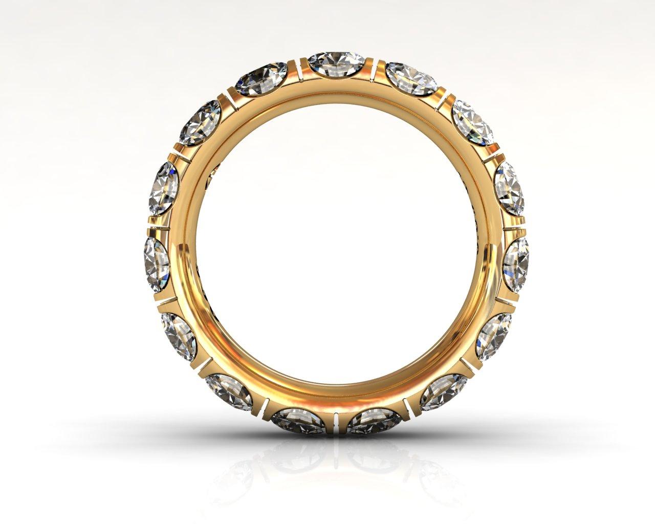 Wedding Bands Ladies Diamonds Craponia Setting 15 Stone 3.85 TCW Diamonds 4.60g 18kt Yellow Gold