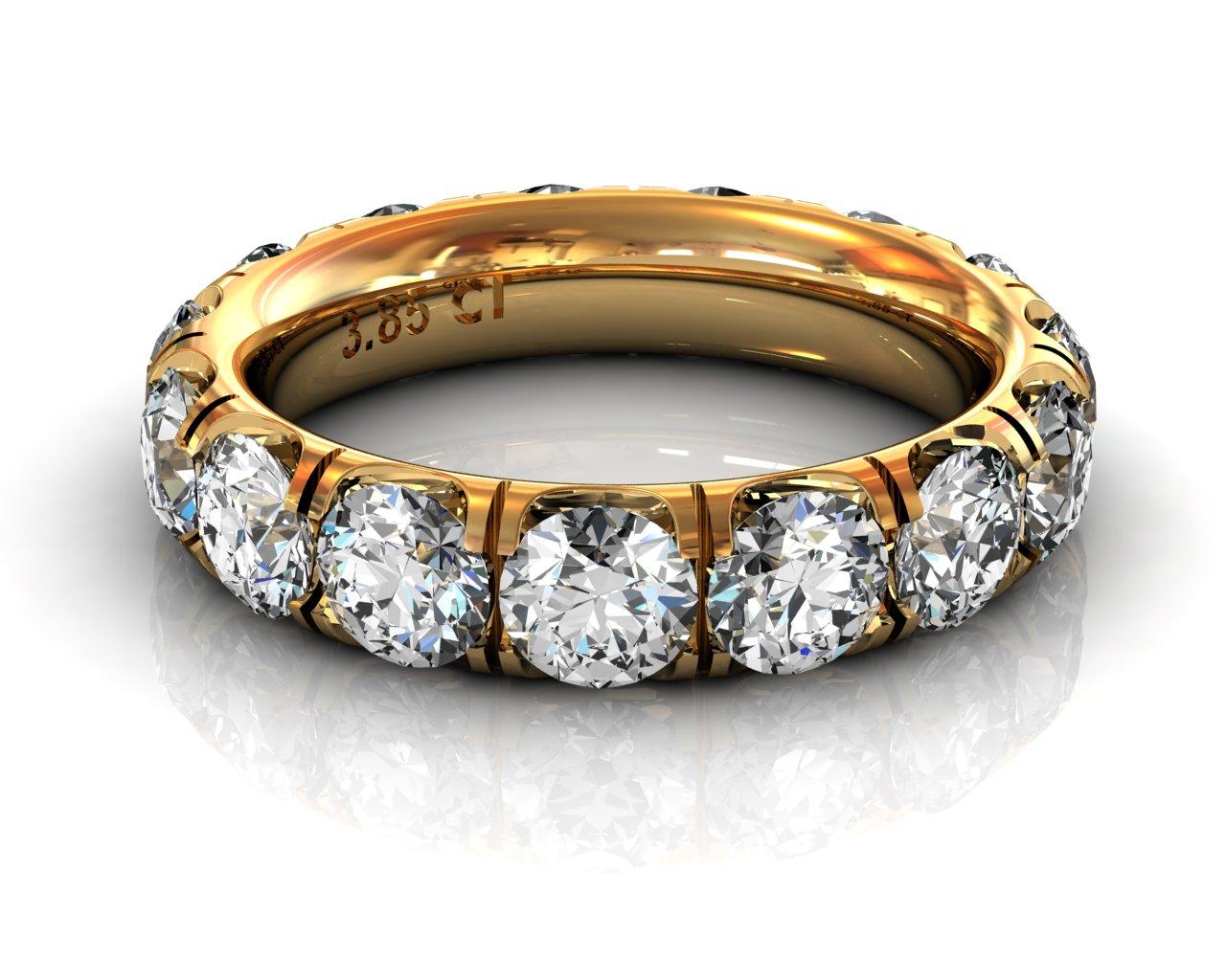 Wedding Bands Ladies Diamonds Craponia Setting 15 Stone 3.85 TCW Diamonds 4.60g 18kt Yelllow Gold