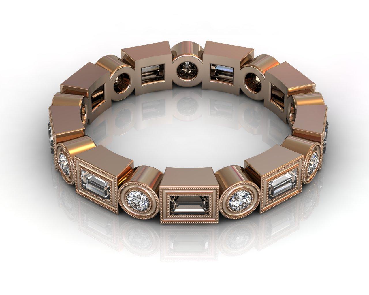 Wedding Bands Ladies South Bay Gold Diamonds Bezel 18 Stone 0.77 TCW Diamonds 5.16g 18kt Rose Gold