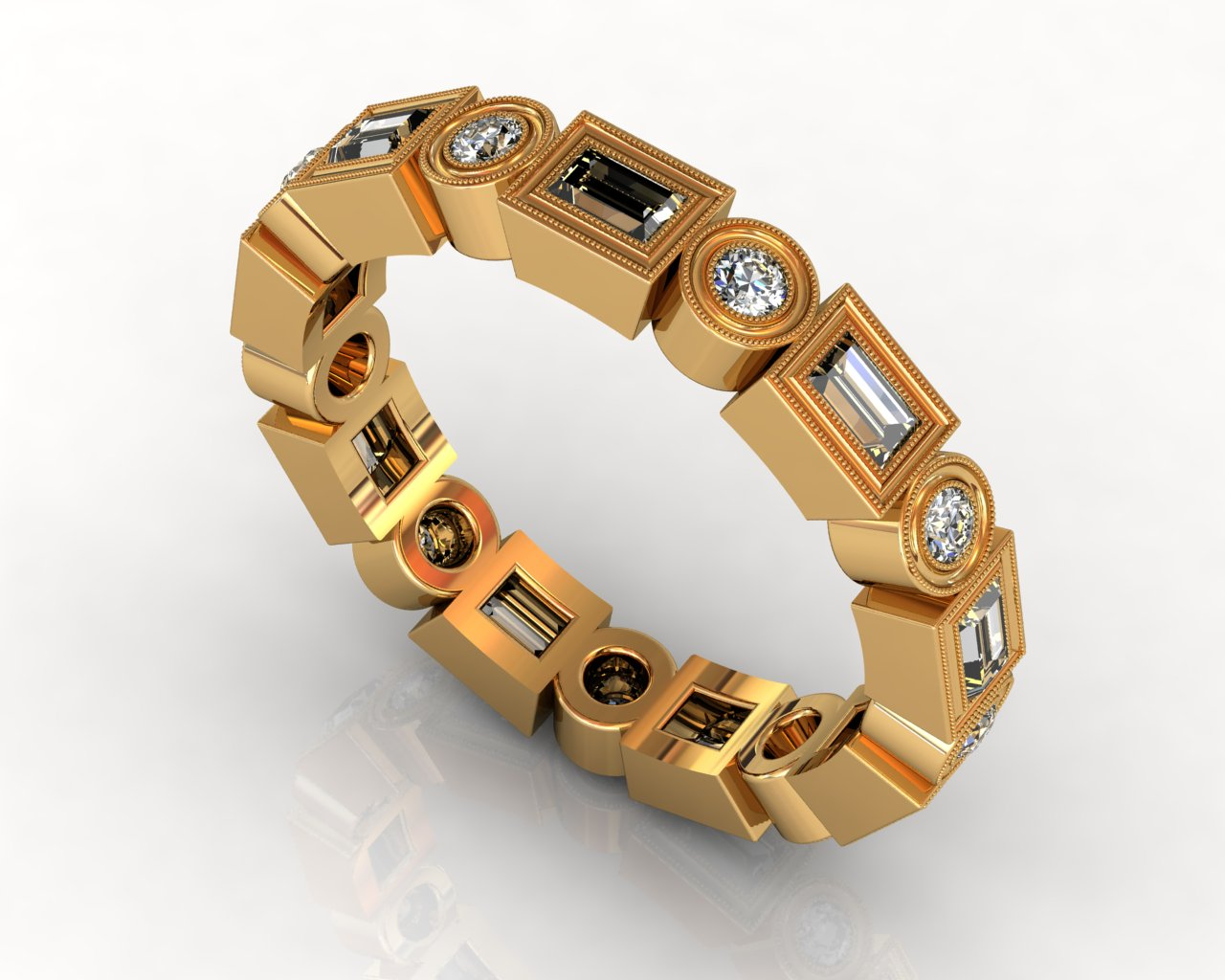 Wedding Bands Ladies South Bay Gold Diamonds Bezel 18 Stone 0.77 TCW Diamonds 5.16g 18kt White Gold