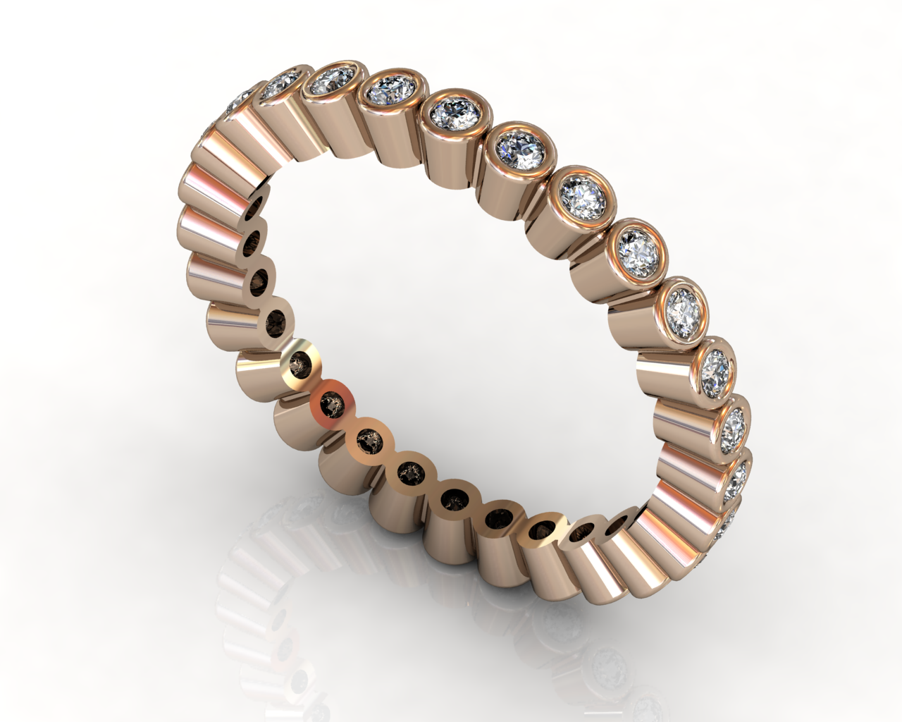 Wedding Bands Ladies South Bay Gold Torrance Bezel 18 Stone 0.31 TCW Diamonds 2.52g 18kt Rose Gold