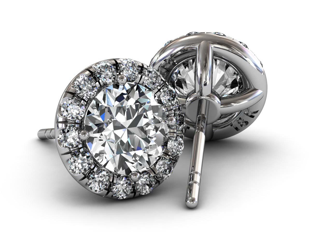 Diamond Halo Stud Earring U Cut Fashion Designer jewelry Store - on Sale Christmas