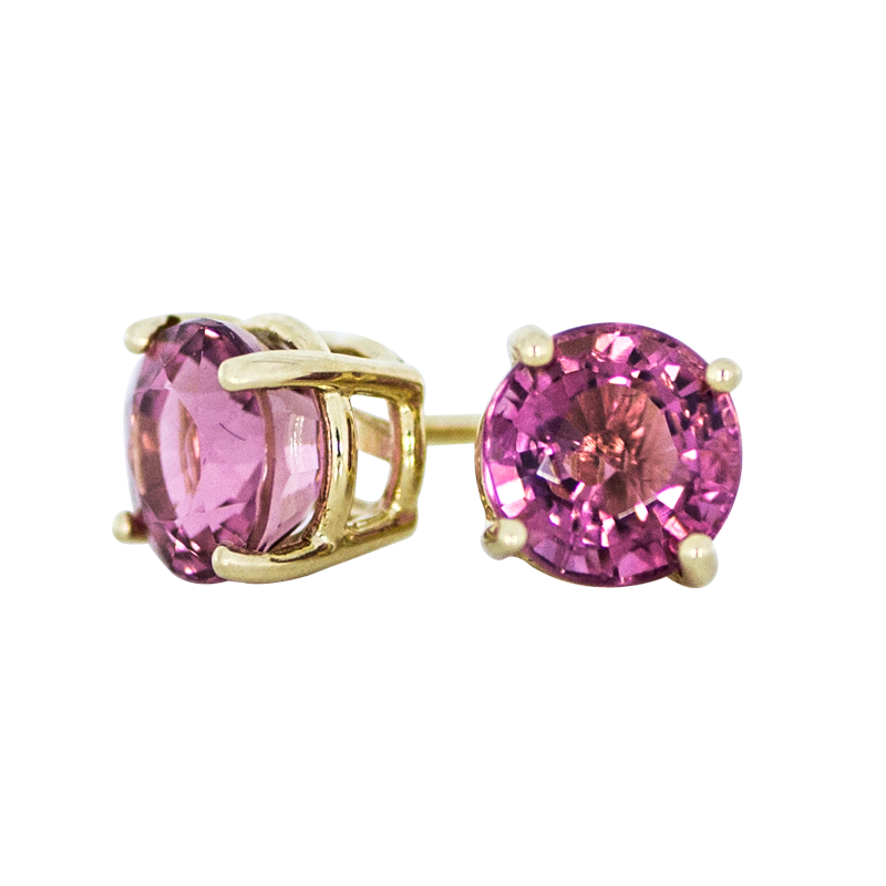 shop meira of k tourmaline product image stud gold t earrings halo pink rose diamond