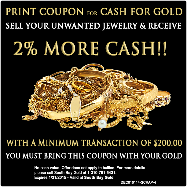 Selling Gold Jewelry 2% More Coupon in Torrance Compare With Fast Fix