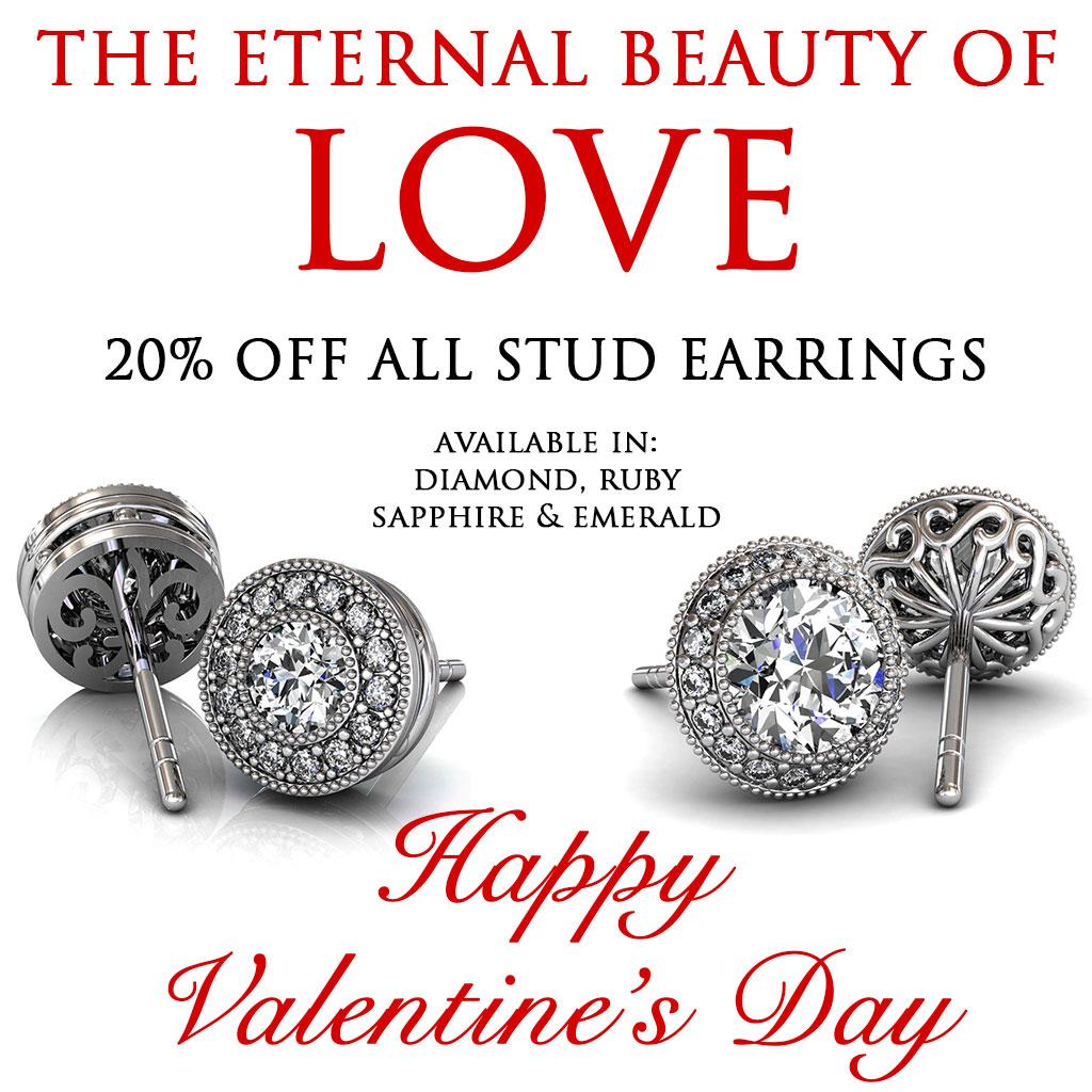 Valentine's Day  Stud Diamonds Sale