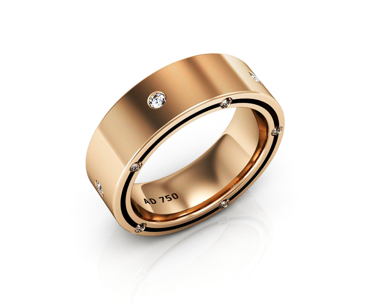 15 Stone Diamond Rose Gold Mens Wedding Bands