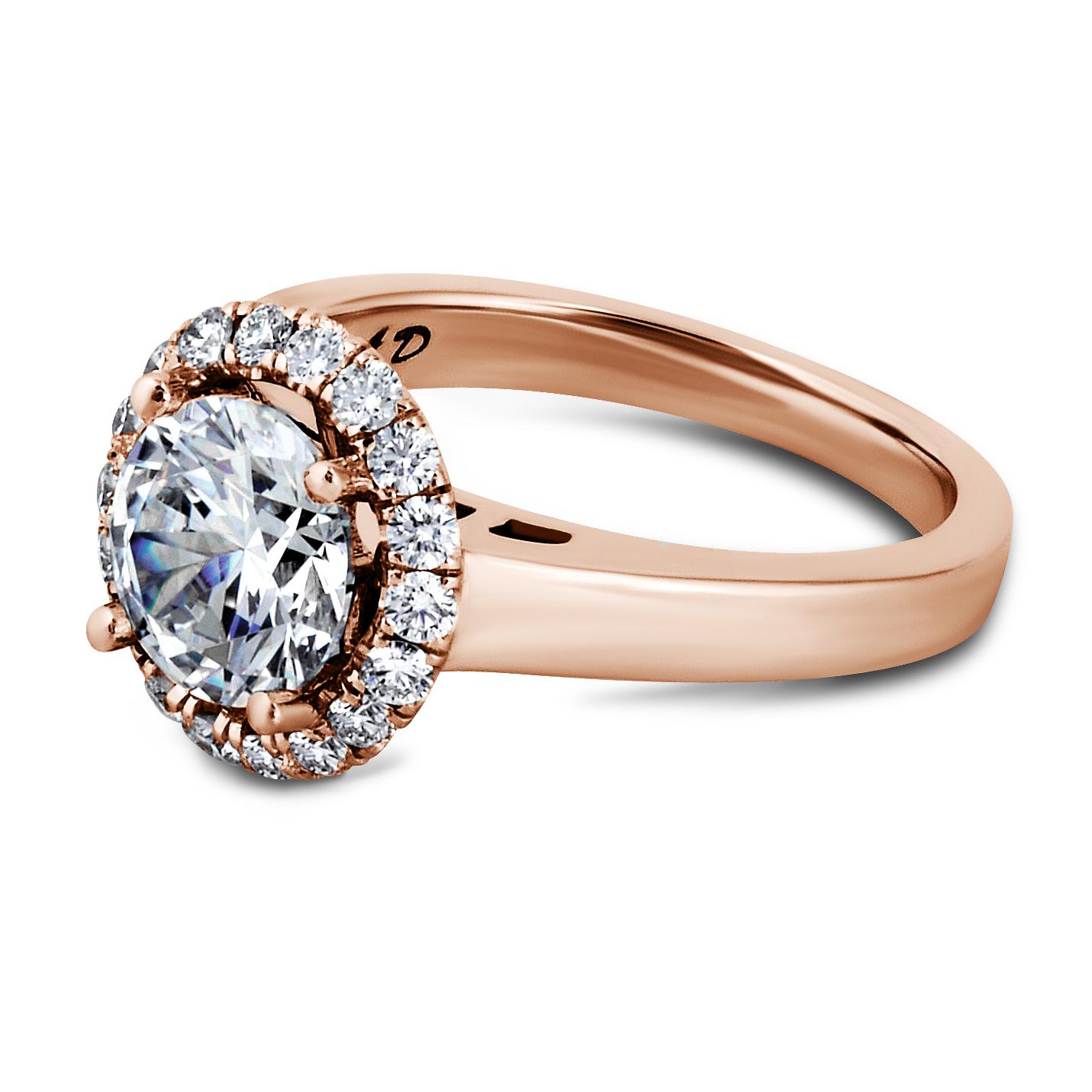 Diamond Halo Ring Set in Rose Gold