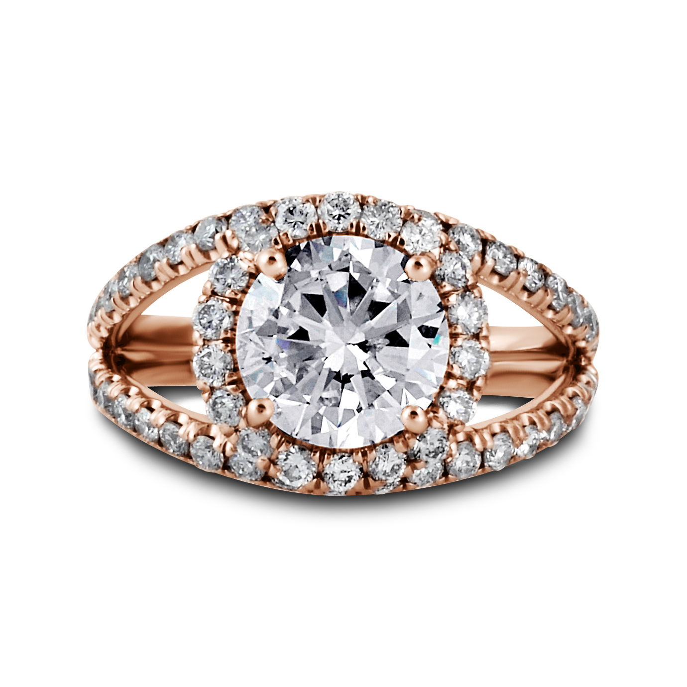Double Band Diamond Halo Engagement Ring Los Angeles