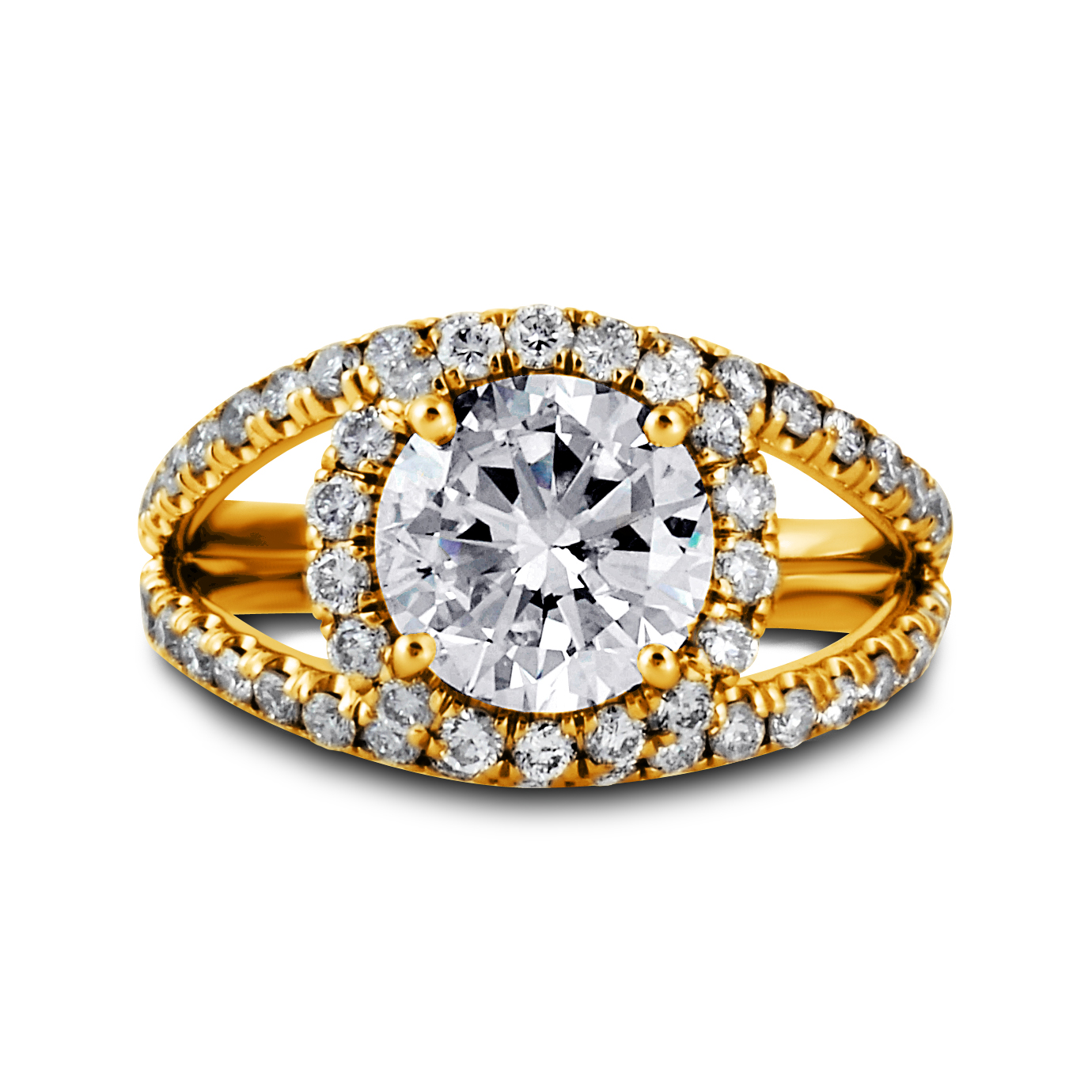 Double Band Diamond Halo Engagement Ring | Set in 14k or 18k Yellow Gold