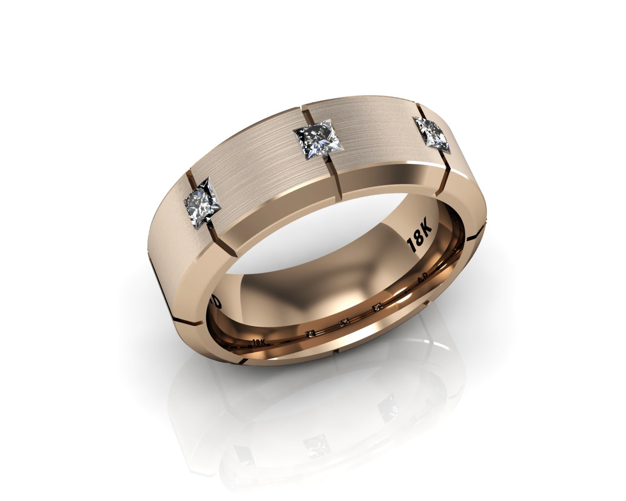 Men39s wedding bands 8 stone diamond rose gold for Mens wedding rings with stones