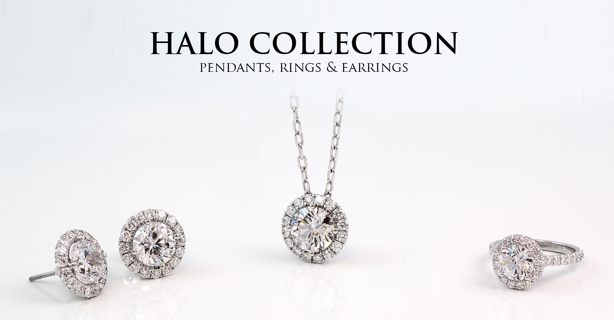 Halo Collection Pendants, Rings, and  Stud Earrings