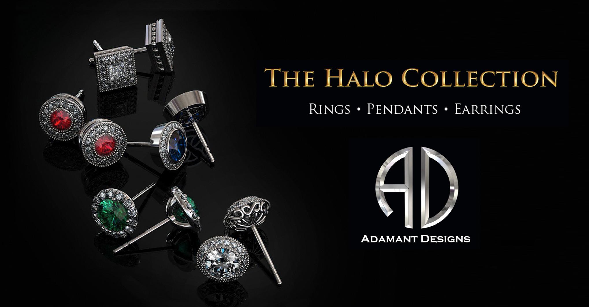 Halo Diamond Stud Earrings Blue-Sapphire - 3804 Sepulveda 90505