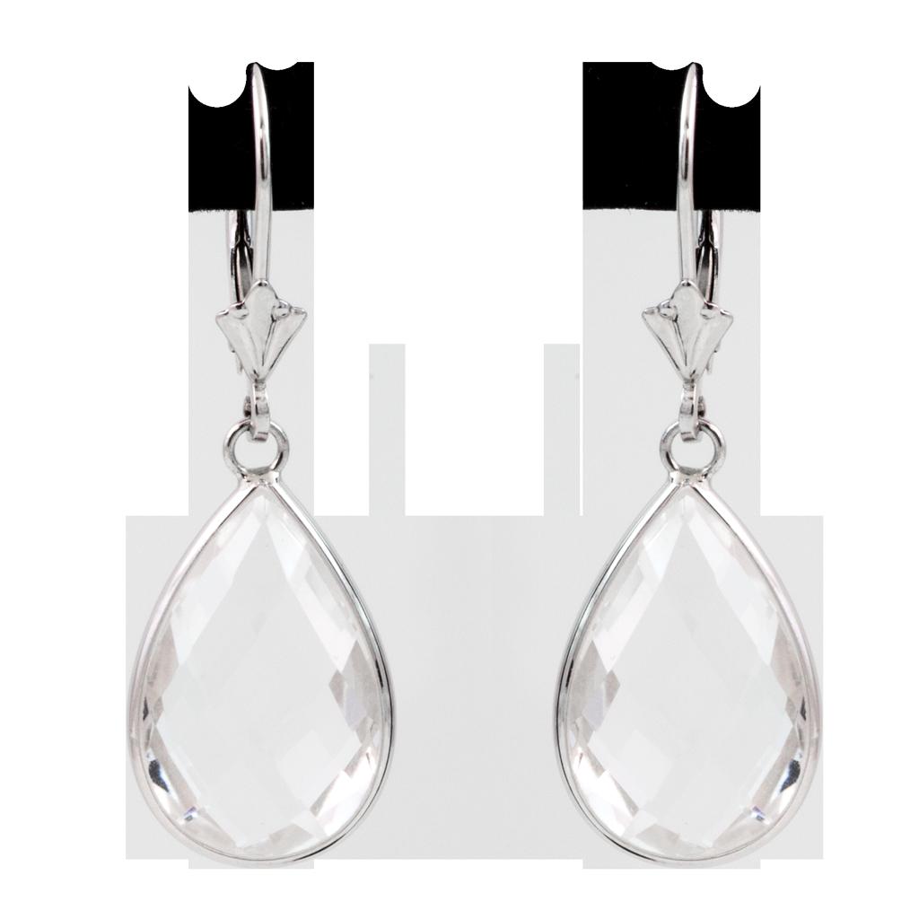 White Quartz Teardrop Earrings 14k White Gold - SBG Los Angele Jewelry Store