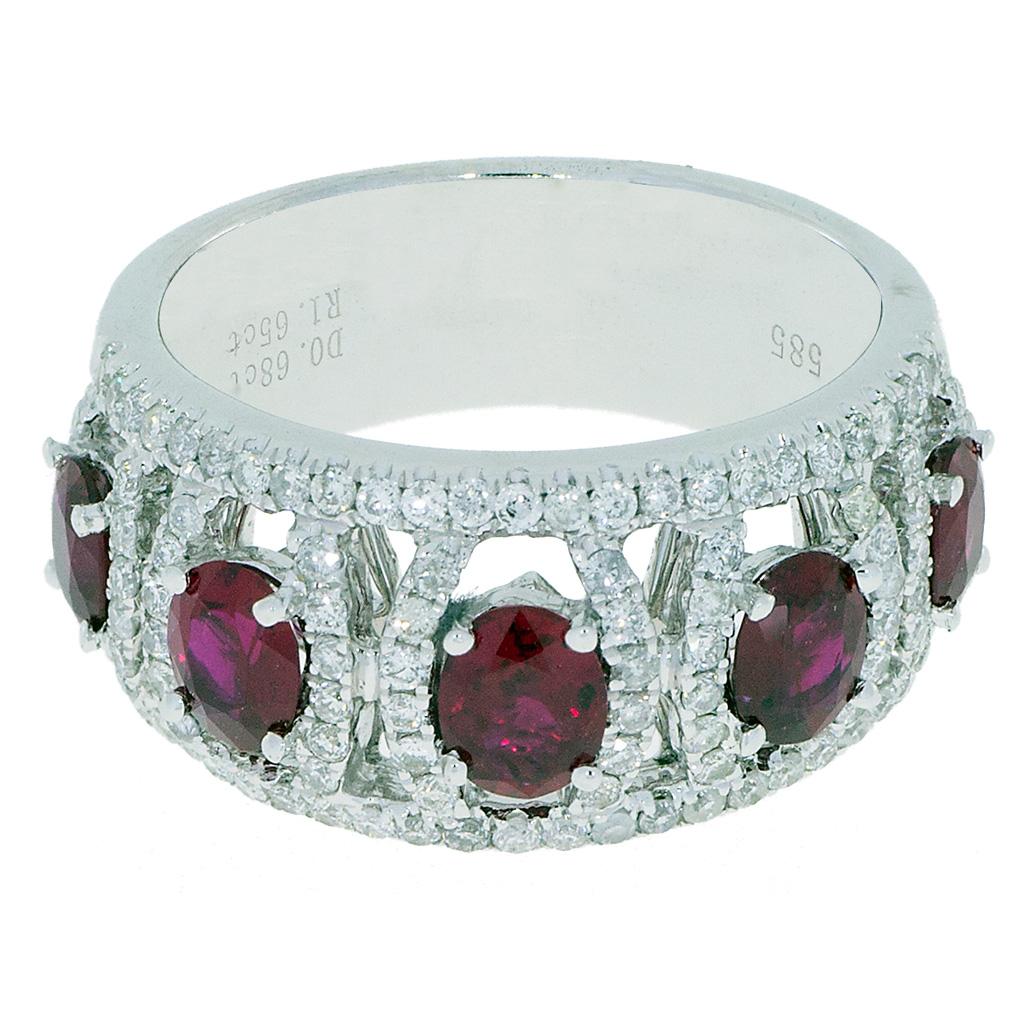 Ruby Diamond Ring -top-tilt- South Bay Gold