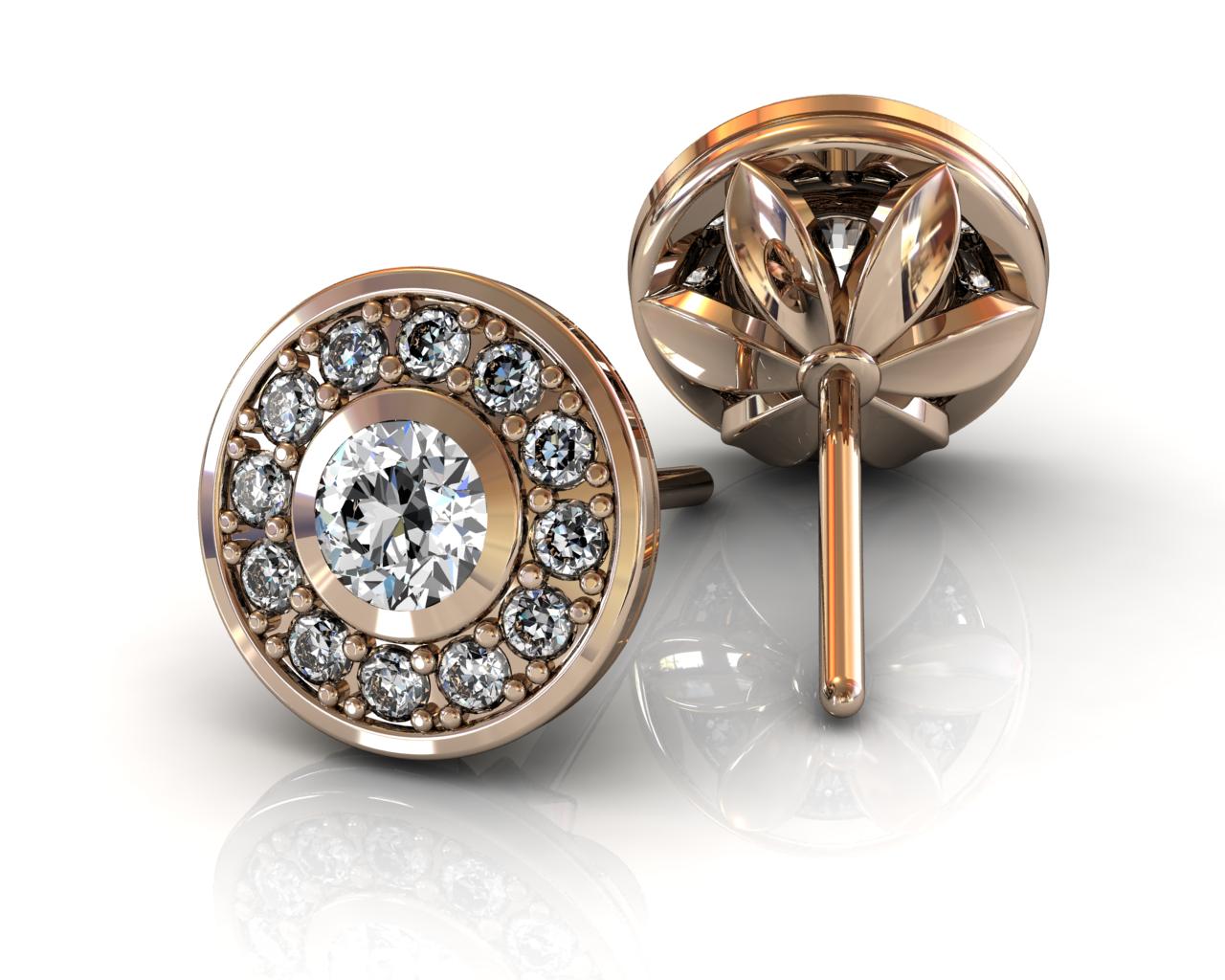 13 Diamond Halo Stud Earrings - Rose Gold