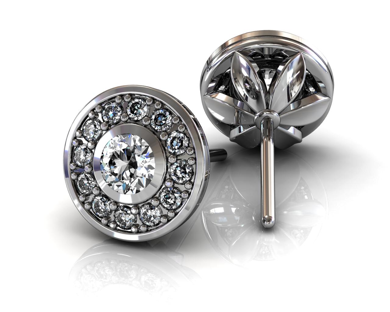 13 Diamond Halo Stud Earrings - White Gold