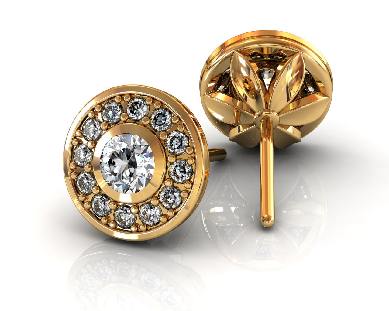 13 Diamond Halo Stud Earrings - Yellow Gold