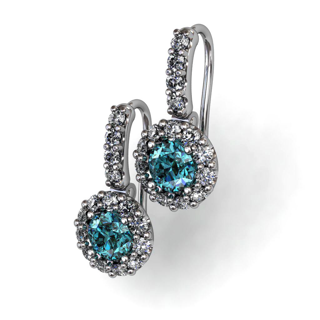 Diamond Aqua Marine Earrings