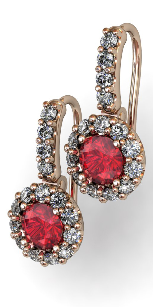 Diamonds and Ruby Earrings