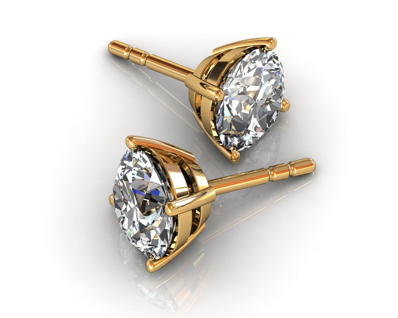 diamond stud earrings in yellow gold