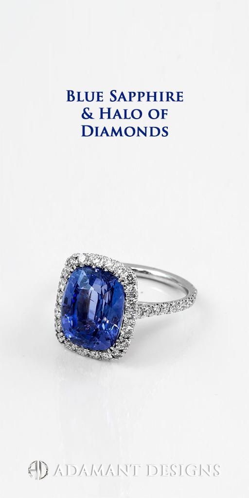 Adamantine Blue Sapphire Custom Designer Rings - 90048