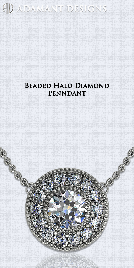 Beaded Halo Diamond Pendants - 310-791-5431