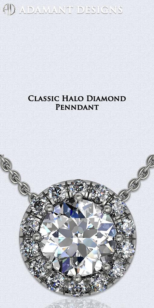 Classic Halo Diamond Pendants - Los Angeles