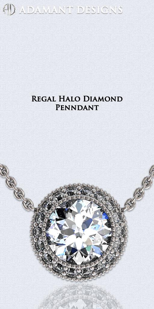 Regal Halo Diamond Pendants - Palos Verdes